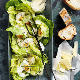 donna hay - butter lettuce and egg salad with malt vinegar dressing