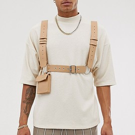 ASOS DESIGN - faux leather body harness with bag in beige