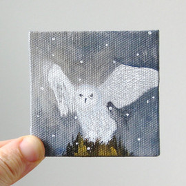 snowy owl / original painting on canvas