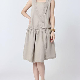 MaLieb - Leisure Linen sleeveless summer pleated dress