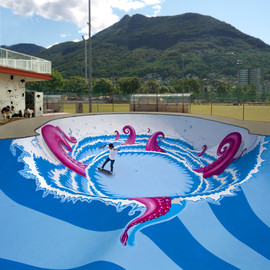 "Distretto di Lugano, Canton Ticino, Switzerland - Octopus Skate Pool ""The Big Pink"""