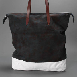 Dries Van Noten - SHOPPER IN CAMOUFLAGE PRINTED CANVAS WITH TWO LEATHER HANDLES AND A ZIP FASTENING ACROSS THE TOP