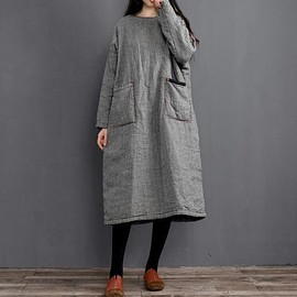 loose fitting padded dress - Winter dresses for women, long Vintage Plaid dress, loose fitting padded dress, Winter robe dress