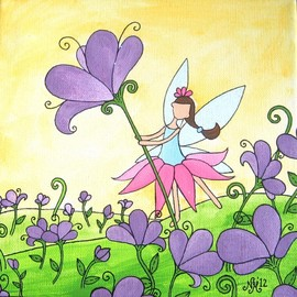 Luulla - Pretty Poppy Fairy Original Acrylic Painting