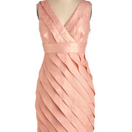 Peach Chiffon Dress - Formal, Wedding, Orange, Tiered, Party, Sheath / Shift, Sleeveless, Mid-length