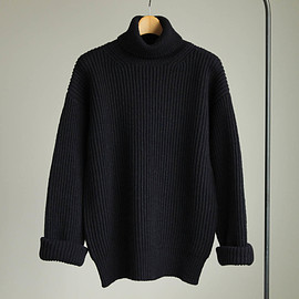 Graphpaper - Mongolian Baby Camel Turtle Neck Knit #navy