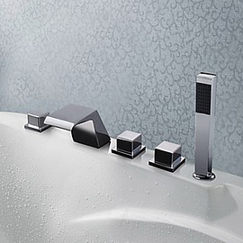 FaucetSuperDeal - Chrome Finish Five Holes Contemporary Widespread Bathroom Tub Faucet - FaucetSuperDeal.com