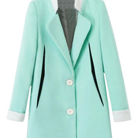 Houndstooth Pattern Print Green Coat