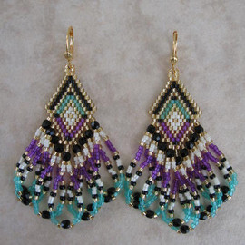 pattimacs - Seed Bead Earrings - Violet/Minty Aqua/Cream/Black -