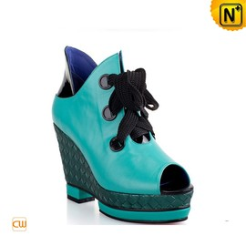 cwmalls - Women Green Leather Wedges Shoes CW269004 - cwmalls.com