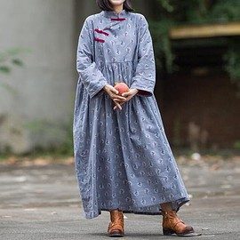 Loose Fitting dress - Cotton gray, pink Loose Fitting dress for women, Vintage Print Dress, Maternity Clothing