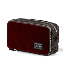 "HEAD PORTER - ""VELOURS"" COSMETIC CASE RED"