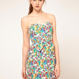 asos - Image 1 of ASOS Strapless Dress In Floral Print