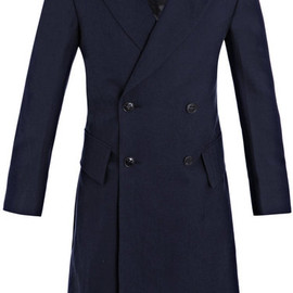 Yves Saint Laurent -  Canvas Patchwork Fabric Coat in Blue