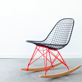 castandcrew - EAMES RKR by C+C Custom Flat Black on Marfa Red Rocker Base