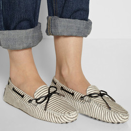 TOD'S - Gommino striped calf hair loafers