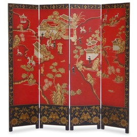 ChinaFurnitureOnline - 72in Red Chinoiserie Floor Screen (4 Panel)