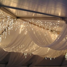 tent draping and lighting- Pretty Wedding Things Blog.