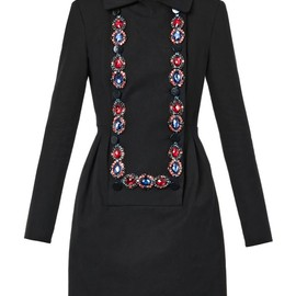 MATTHEW WILLIAMSON - FW2014 Jewel-embellished bib-front dress