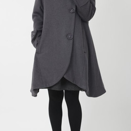 wool coat - gray cloak wool coat Hooded Cape women Winter wool coat