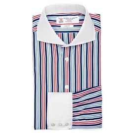 TURNBULL & ASSER - SLIM FIT SHIRT IN BLUE, WHITE AND RED REGIMENTAL STRIPE