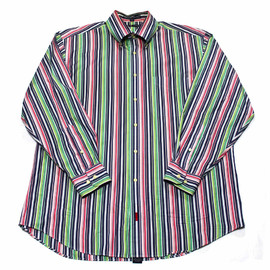 TOMMY HILFIGER - Tommy Hilfiger Navy/Pink/Green Striped Button Down Shirt Mens Size Large