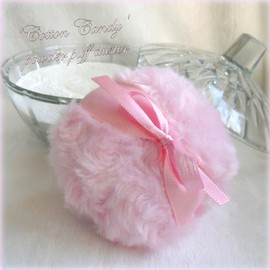 Luulla - BODY POWDER SET - cotton candy pink - puff and powder - handmade