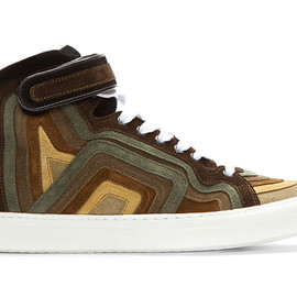 PIERRE HARDY - 2013 Spring/Summer Khaki Rainbow Banded Suede High-Top