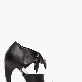 PROENZA SCHOULER - Black & white leather ankle bow D'Orsay Horn Heels