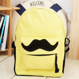 bag - Image of [grzxy6200023]British Style Sweet Cute Mustache Leisure Canvas Backpack