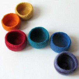 Luulla - Rainbow felted bowls -gorgeous accent bright colors- desk organizer - set of six