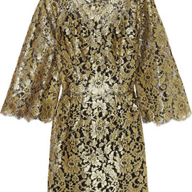 DOLCE&GABBANA - Swarovski crystal-embellished metallic lace mini dress