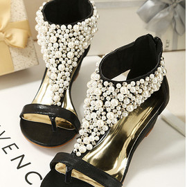 shoes - Image of  [grzxy61900003]Elegant Fashion Beaded Rhinestone Thong Sandal