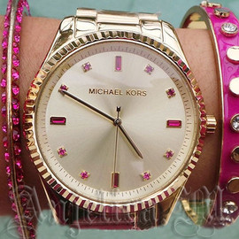 Michael Kors - MICHAEL KORS Champagne Pink Crystal Ladies Watch MK3246