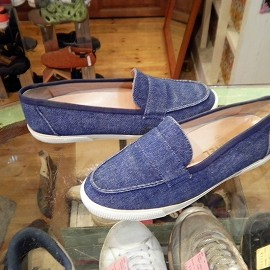 "CHANEL - 「<used>VINTAGE CHANEL SLIP-ON navy denim""made in ITALY"" size:36(23-23.5cm) 7800yen」完売"