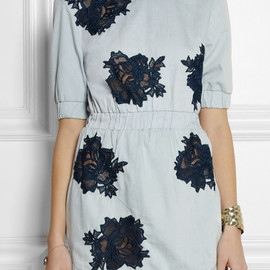 House of Holland - Lace-detailed chambray mini dress