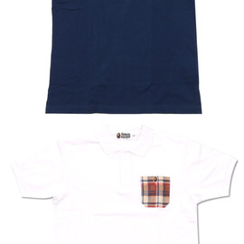 A BATHING APE - BAPE CHECK POCKET POLO