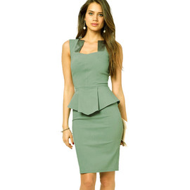 Fashion Square Neck Flouncing Sleeveless Package Hip Dress