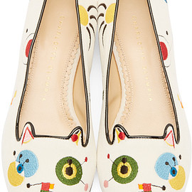 Charlotte Olympia - Charlotte Olympia White Velvet Abstract Kitty Flats
