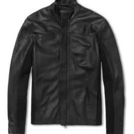 Lot78 - Jersey-Insert Textured-Leather Jacket