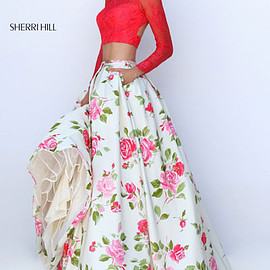 floral long prom dresses - Two Piece Lace Long Sleeves Coral/Ivory Floral Printed 2016 Open Back Long Prom Dresses