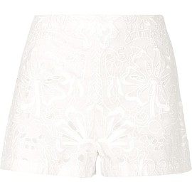 Theory - Micro E broderie anglaise linen and cotton-blend shorts