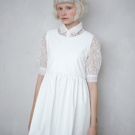 THE WHITEPEPPER - Sleeveless Leather Angel Dress White
