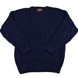 Eddie Bauer - Vintage 90s Eddie Bauer Cable Knit Sweater Navy Blue Mens Size Medium