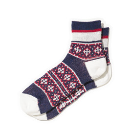 White Mountaineering - COTTON JACQUARD CROSS BORDER PATTERN SHORT SOCKS