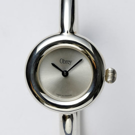 Obrey - Round silver watch on silver bracelet