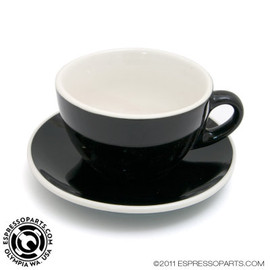 ESPRESSO PARTS - Cup & Saucer Black and White 8 Oz. (236.6 ml) Cafe Style Latte