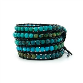 CHAN LUU - Turquoise Wrap Bracelet on Black Leather