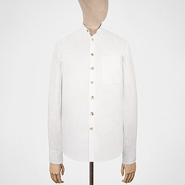 S.E.H Kelly - Granddad shirt in white oxford cotton