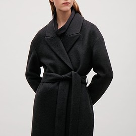 COS - Belted wool coat  in Black